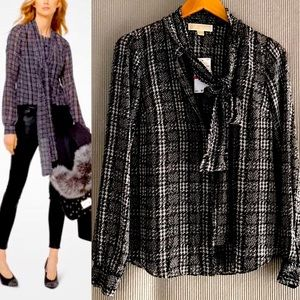 NWT MICHAEL KORS Georgette Pussy Bow Tie Blouse